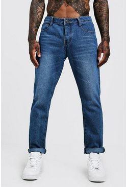 Jeans slim fit in denim rigido, Blu medio, Uomo