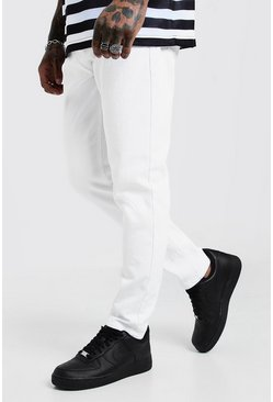 Jeans slim fit in denim rigido, Bianco, Maschio