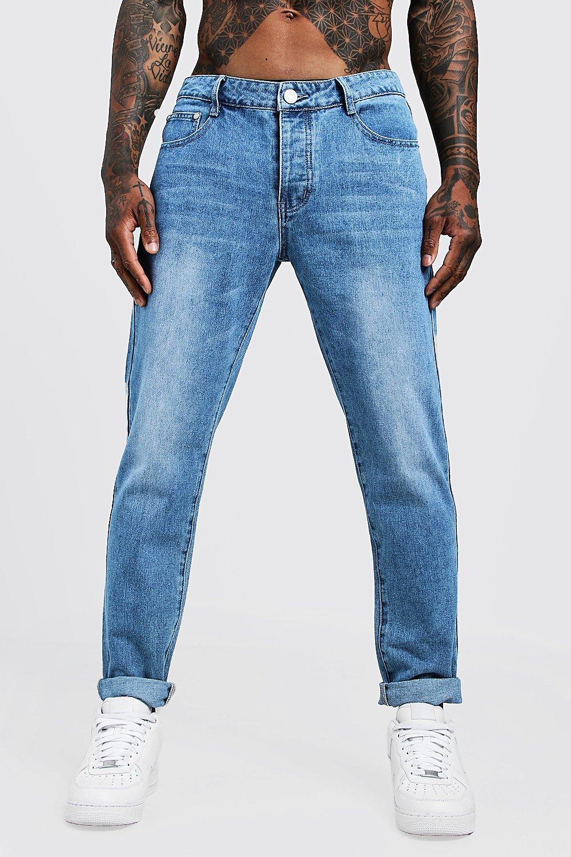 Men's Vintage Pants, Trousers, Jeans, Overalls Mens Slim Fit Rigid Denim Jeans - Blue $22.40 AT vintagedancer.com