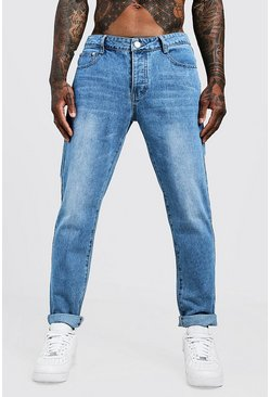 Jean coupe slim rigide en denim, Délavage vintage, Homme