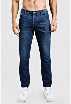 Mens Dark blue Slim Fit Rigid Denim Jeans