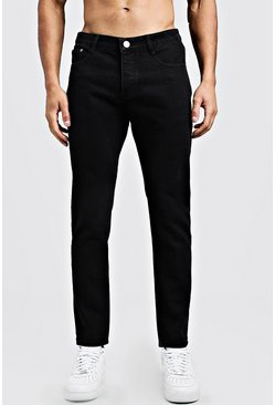 Jeans slim fit in denim rigido, Nero, Maschio