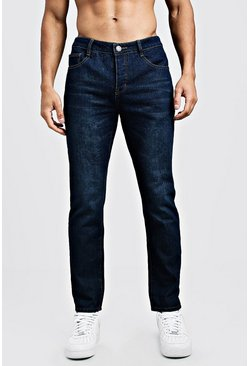 Mens Navy Slim Fit Rigid Denim Jeans
