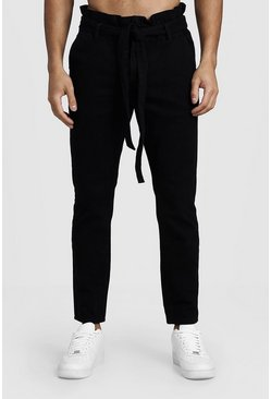 Mens Black Slim Fit Jeans With Paper Bag Waist