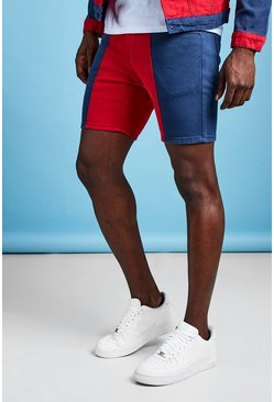Mens Red Slim Fit Colour Block Denim Shorts