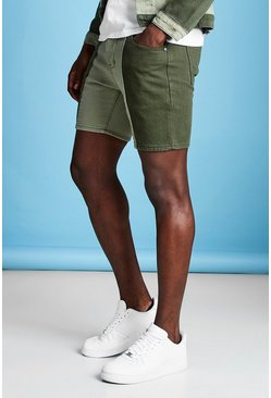 Short en denim coupe slim colorblock, Kaki, Homme
