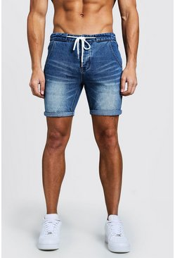 Mens Blue Slim Fit Denim Shorts With Drawcord Detail