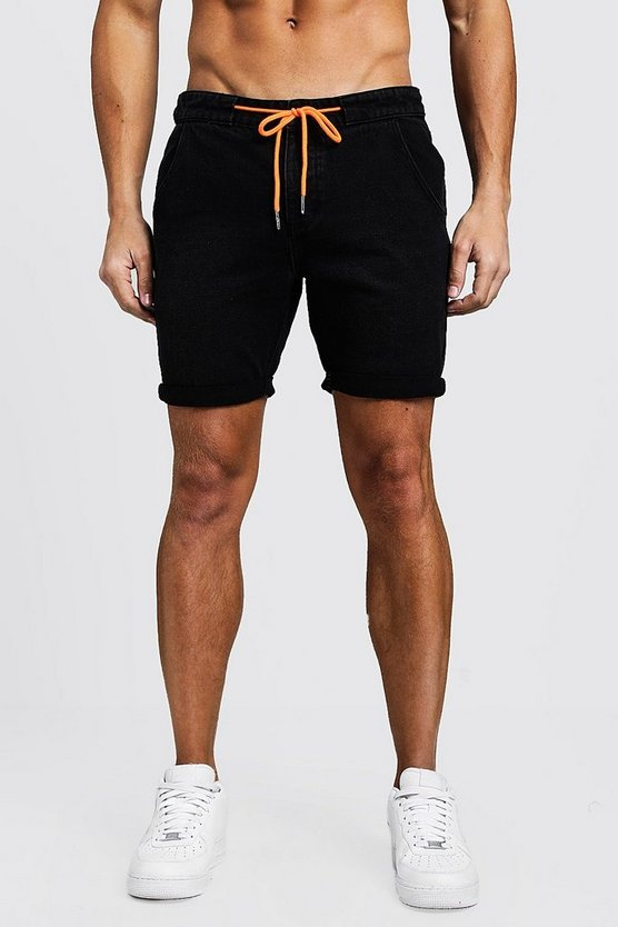 Black Slim Fit Denim Shorts With Drawcord Detail