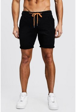 Mens Black Slim Fit Denim Shorts With Drawcord Detail