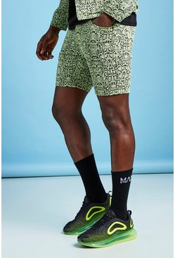 Mens Neon-lime Slim Fit Neon Snake Print Denim Shorts