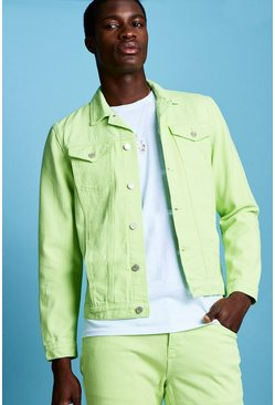 Herr Neon-lime Regular Fit Denim Western Jacket