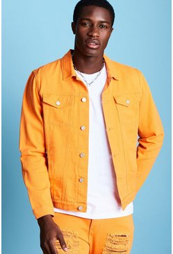 Mens Orange Regular Fit Denim Western Jacket