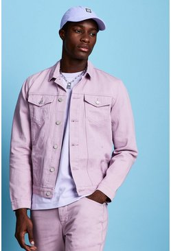 Mens Lilac Regular Fit Denim Western Jacket