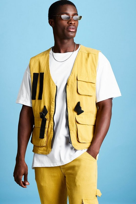 Mens Mustard Sleeveless Denim Utility Vest
