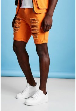 Mens Orange Slim Fit Distressed Denim Short