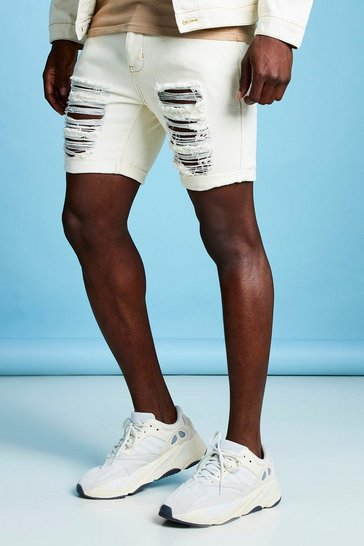 0642da89ee Slim Fit Distressed Denim Short