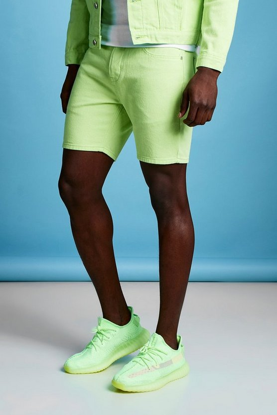 Mens Neon-lime Slim Fit Neon Lime Denim Shorts