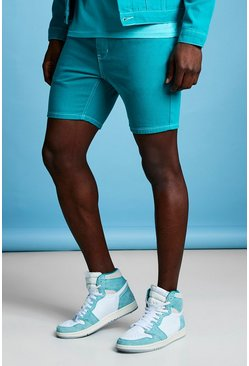 Mens Slim Fit Teal Denim Shorts