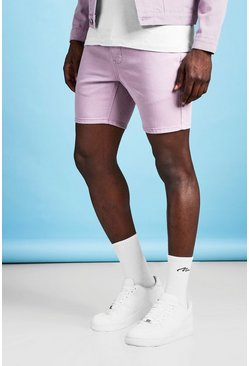 Mens Slim Fit Lilac Denim Shorts