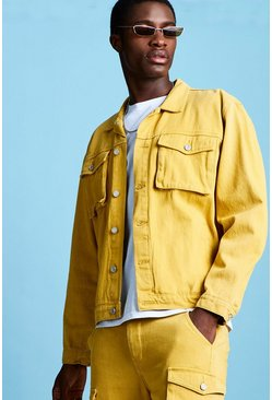 Mens Mustard Boxy Denim Utility Jacket