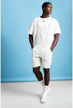 Mens Ecru Slim Fit Short Length Overalls