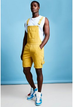 Mens Mustard Slim Fit Short Length Overalls