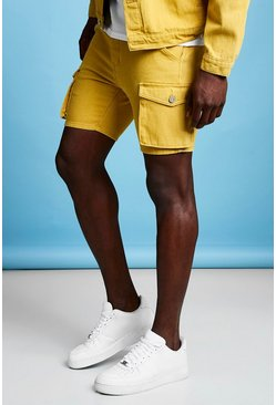 Mens Mustard Slim Fit Cargo Denim Shorts