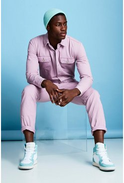 Mens Lilac Long Length Denim Jumpsuit