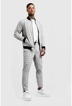 Mens Grey Smart Check Bomber Tracksuit
