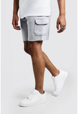 Mens Grey Man Signature Mid Length Cargo Jersey Shorts