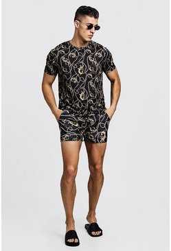 Mens Black Baroque Print T-Shirt & Swim Short Set