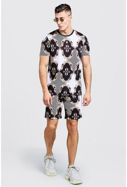 Mens Multi Baroque & Stripe Printed T-Shirt & Short Set