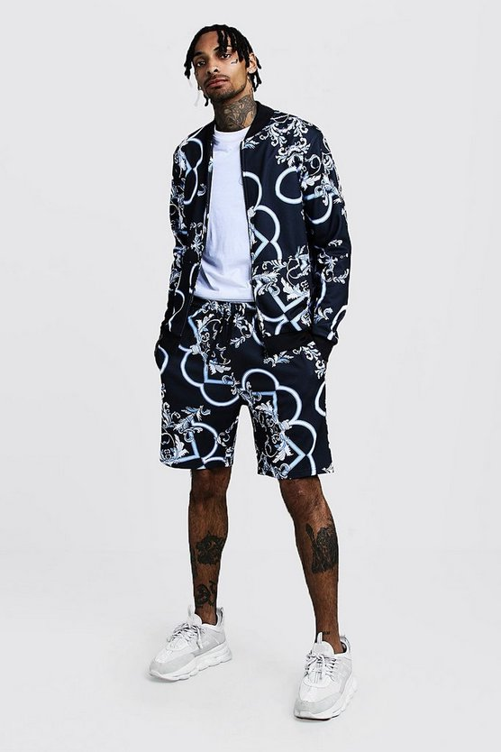 Mens Navy Blue Baroque Printed Bomber Short Tracksuit
