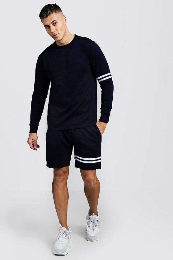Navy Sweater Short Tracksuit With Tape Detail