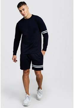 Mens Navy Sweater Short Tracksuit With Tape Detail