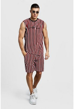 Mens Red MAN Signature Velour Stripe Tank & Short