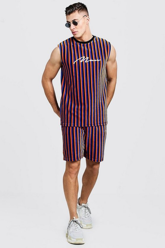 Mens Cobalt MAN Signature Velour Stripe Tank & Short Set