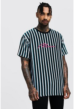Mens Green Loose Fit MAN Signature Velour Stripe T-Shirt