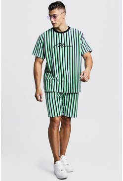 Mens Lime MAN Signature Velour Stripe T-Shirt & Short Set