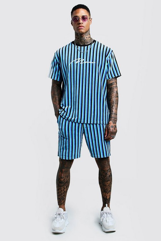 Turquoise MAN Signature Velour Stripe T-Shirt & Short Set