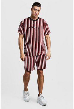 Mens Red MAN Signature Velour Stripe T-Shirt & Short Set