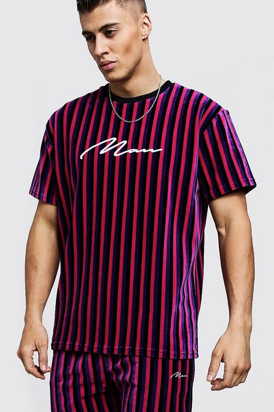 Mens Pink MAN Signature Velour Stripe T-Shirt & Short Set