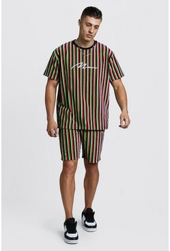 Mens Green MAN Signature Velour Stripe T-Shirt & Short Set