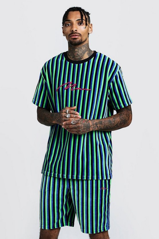 Cobalt MAN Signature Velour Stripe T-Shirt & Short Set