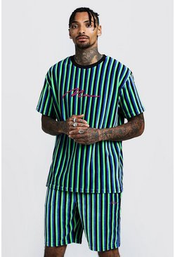 Mens Cobalt MAN Signature Velour Stripe T-Shirt & Short Set