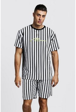 Mens Grey MAN Signature Velour Stripe T-Shirt & Short Set
