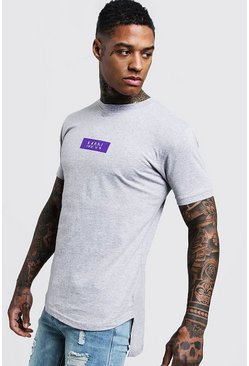 Mens Grey MAN Box Step Hem T-Shirt