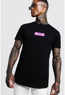 Mens Black Neon MAN Box T-Shirt With Curve Hem
