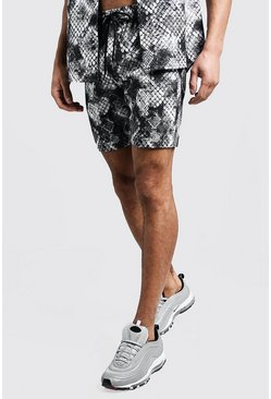 Mens Grey Snake Print Mid Length Short