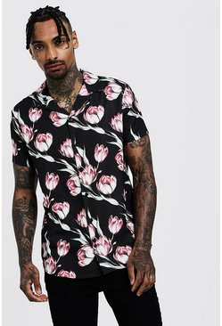 Mens Black Floral Print Short Sleeve Revere Shirt